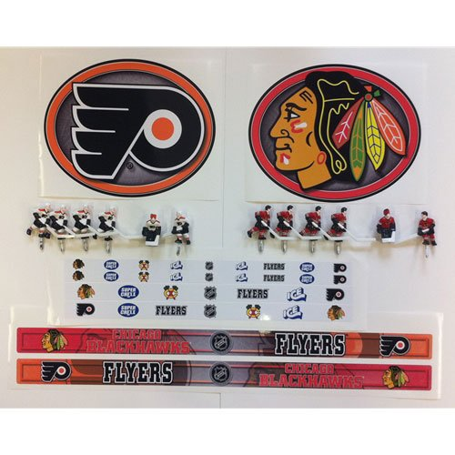 Philadelphia Flyers and Chicago Blackhawks bubble hockey stickers.