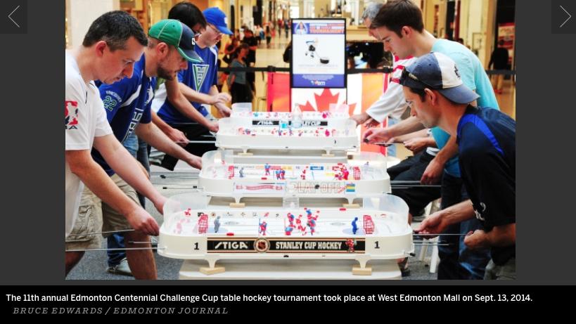 The 11th annual Edmonton Centennial Challenge Cup table hockey tournament. Photo credit: BRUCE EDWARDS / EDMONTON JOURNAL