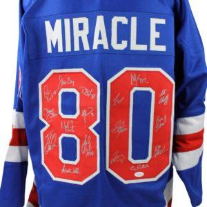 1980 USA Hockey Miracle Team Signed Blue Jersey Eruzione/Craig Witness - JSA Certified