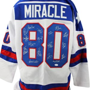 1980 USA Hockey Miracle Team Signed White Jersey Eruzione/Craig Witness - JSA Certified