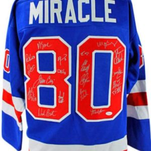 1980 USA Hockey Team (19) Signed Blue Jersey (Craig, Eruzione) Witness - JSA Certified