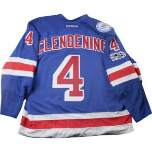 Adam Clendening New York Rangers 2016-2017 Game Issued #4 Blue Jersey w/ 90th / 100th Anniversary Patches (Playoffs Rounds 1 & 2)