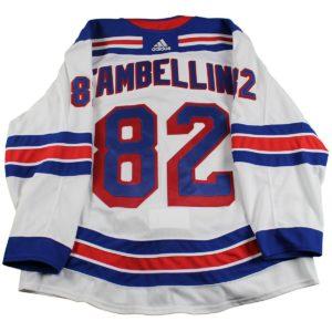 Adam Tambellini New York Rangers 2017-2018 Pre-Season Game Used #82 White Jersey (Size 58)