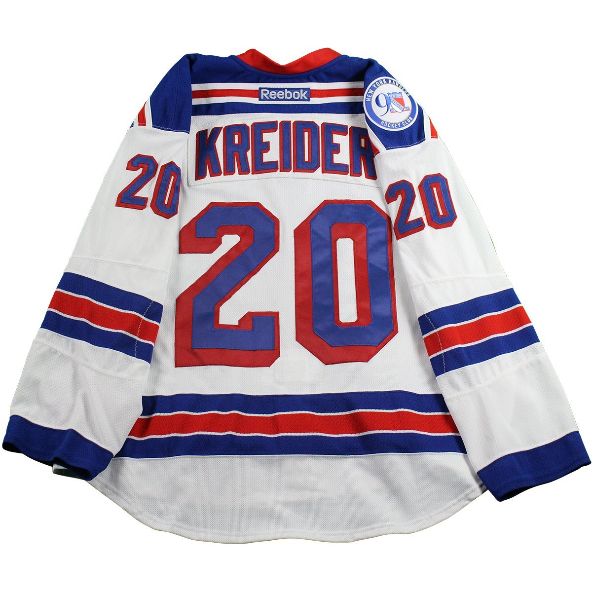 reputable site 07e6a d2e89 Chris Kreider New York Rangers 2016-2017 Game Used #20 White Jersey w/ 90th  Anniversary Patch (10/15/2016) (Size 58)