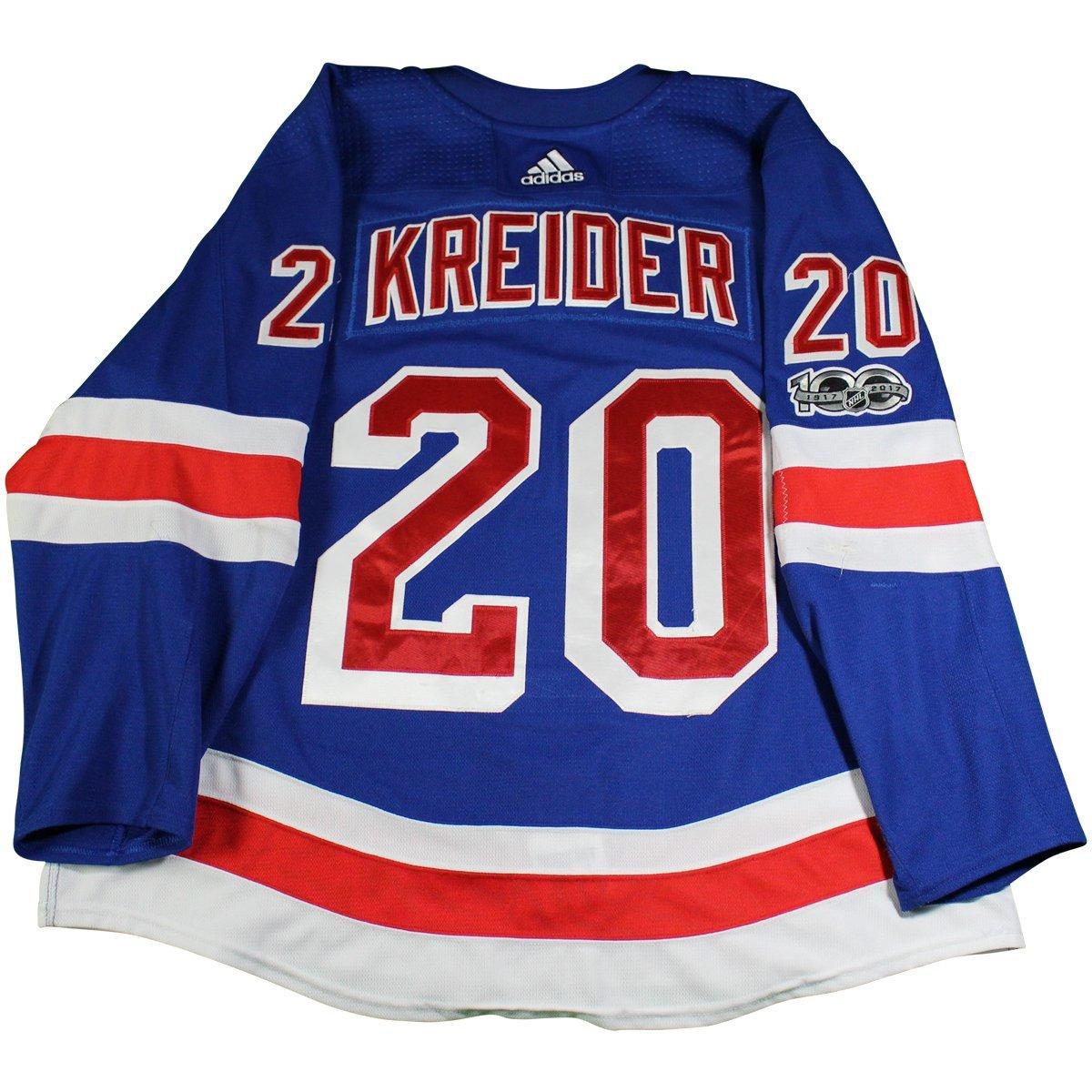 best service 903f1 6435e Chris Kreider New York Rangers 2017-2018 Game Used #20 Set 1 Blue Jersey w/  100th Anniversary Patch (10/8/2017 - 11/22/2017)