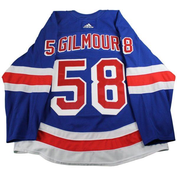 John Gilmour New York Rangers 2017-2018 Pre-Season Game Used #58 Blue Jersey (Size 56)