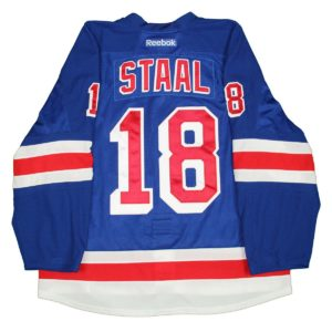 Marc Staal Jersey -New York Rangers 2014-2015 Playoffs Round One Game Used #18 Blue Jersey (11004190G 110041890)