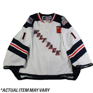 Matt Bodie 2016-2017 Hartford Wolfpack Game Used #22 White Jersey (Set 1)(Size 54)