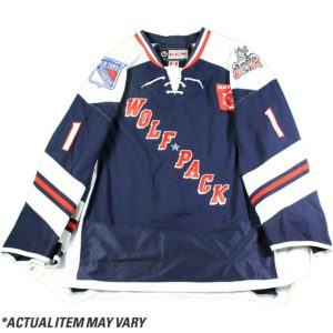 Michael Paliotta 2016-2017 Hartford Wolfpack Game Used #44 Navy Jersey (Set 2)(Size 56)