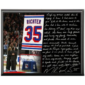 Mike Richter Facsimile 'Jersey Retirement Night' Metallic 8x10 Story Plaque