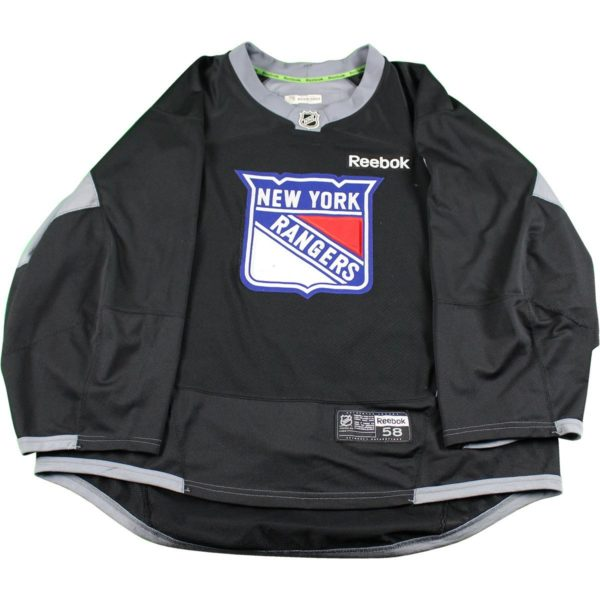 New York Rangers Black Used Shield Logo Practice Jersey (Size 58)