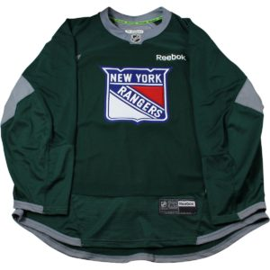 New York Rangers Forest Green Issued Shield Practice Jersey (Size 52)