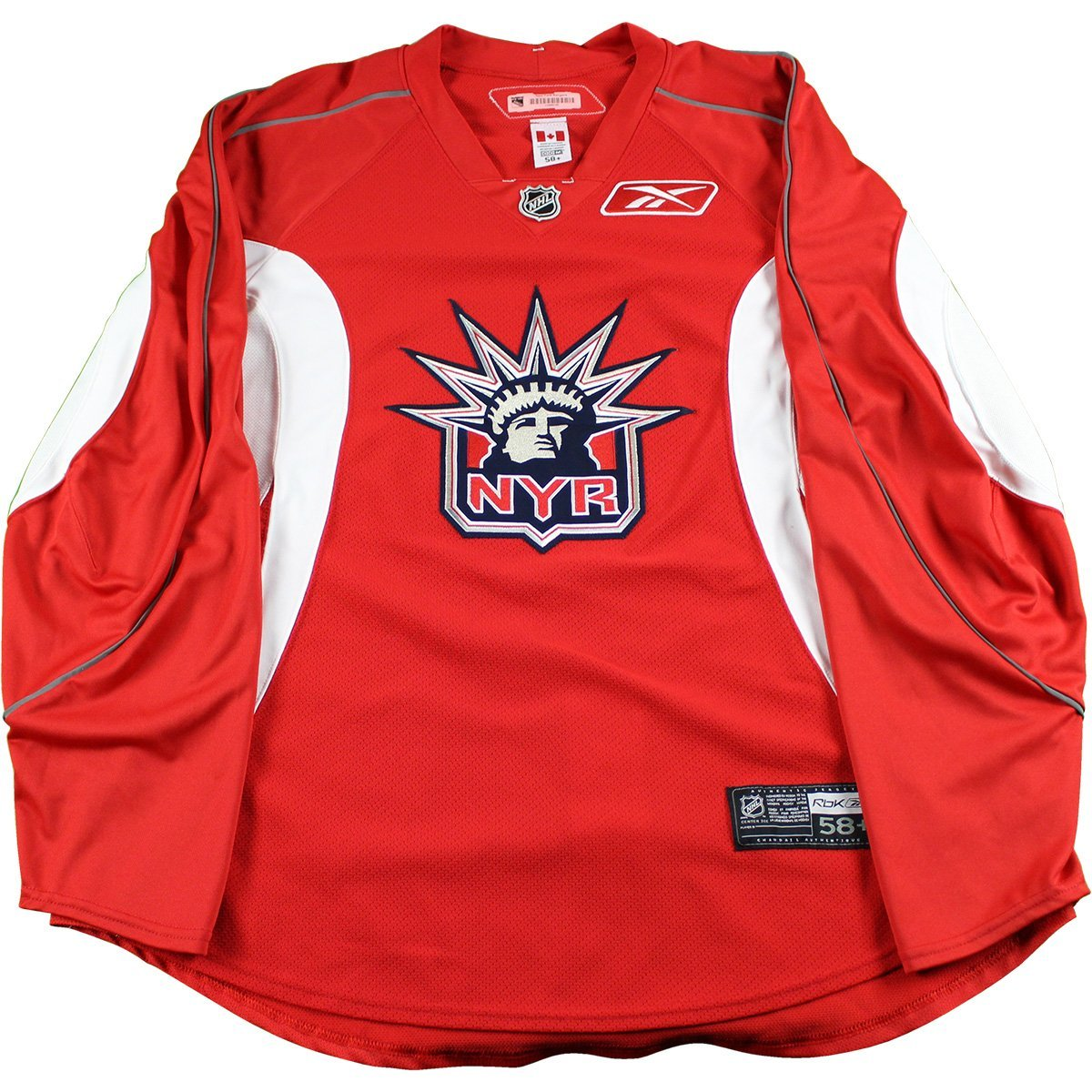 new style cefaa 94072 New York Rangers Red Used Liberty Logo Practice Jersey (Size 58+)