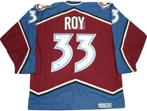 Patrick Roy Colorado Avalanche Signed Retro CCM 2001 Stanley Cup Jersey (AJ Sports Auth)