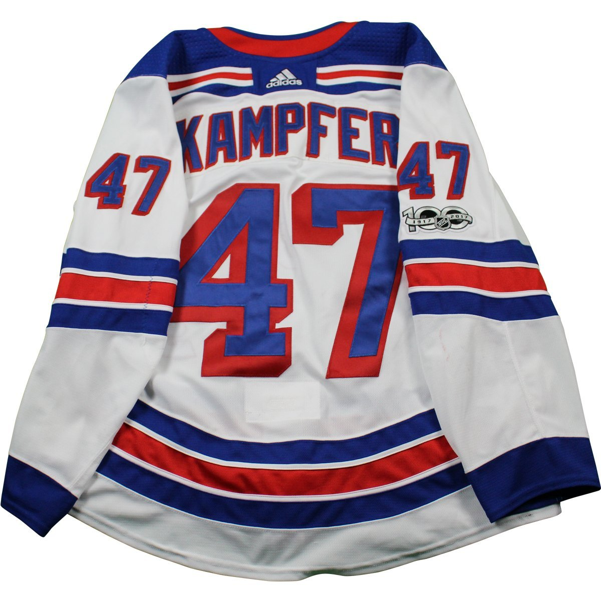 new style b1bf9 90623 Steven Kampfer New York Rangers 2017-2018 Game Used #47 Set 1 White Jersey  w/ 100th Anniversary Patch (10/7/2017 - 11/22/2017)