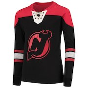 Youth Black/Red New Jersey Devils Perennial Hockey Lace-Up Crew Sweatshirt
