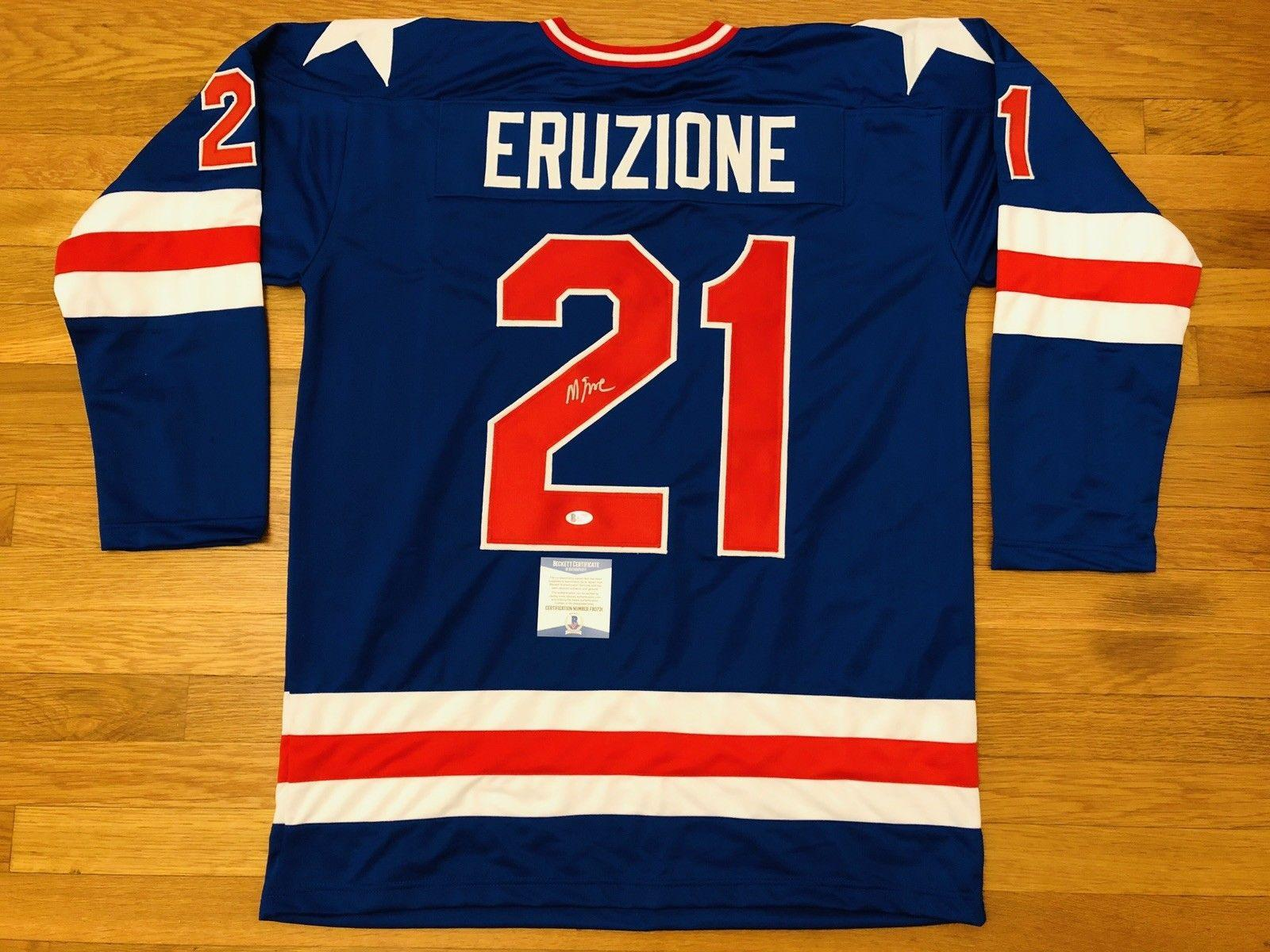 Usa Mike Eruzione Signed Custom Hockey Jersey Miracle On Ice 1980 Bas Coa F80731 - Beckett Authentication