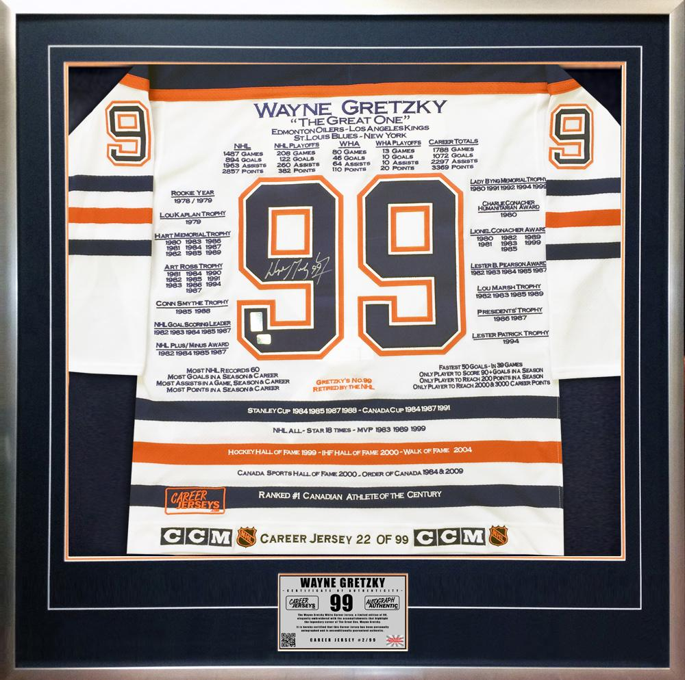 Wayne Gretzky Signed Jersey - Framed White Career WGA LTD 99 Edm - Upper Deck Certified