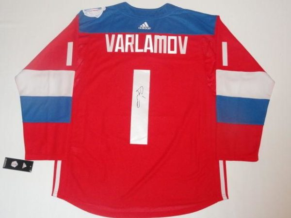 Semyon Varlamov Signed Jersey - 2016 Team Russia World Cup Of Coa - JSA Certified