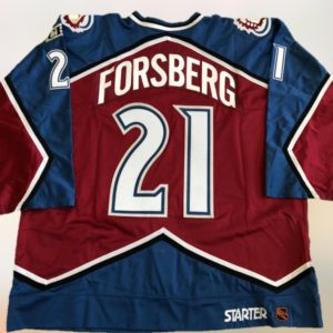1999 Peter Forsberg Game Worn Used Playoff 3 Goal Hockey Jersey MeiGray