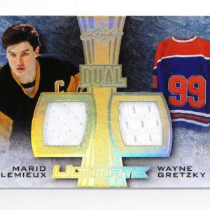 2015-16 Leaf Ultimate Mario Lemieux / Wayne Gretzky Gold Spectrum Dual Jersey /3