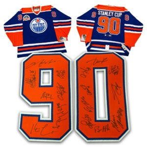 1990 Edmonton Oilers Stanley Cup 16 Player Team Signed Vintage Hockey Jersey /90