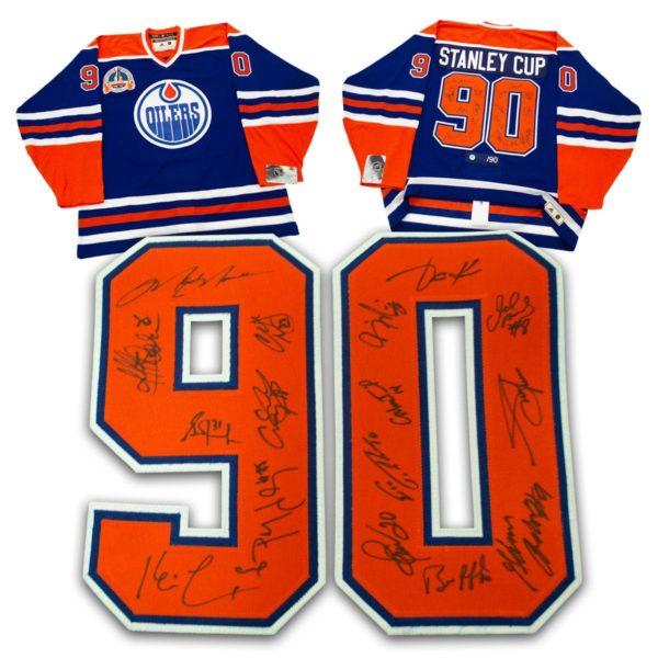 1990 Edmonton Oilers Stanley Cup 16 Player Team Signed Vintage Hockey Jersey /90