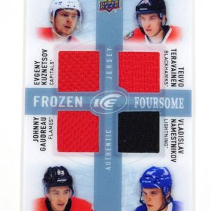 2014-15 UD Ice Gaudreau Kuznetsov Teravainen Namestnikov Frozen Foursome Jerseys