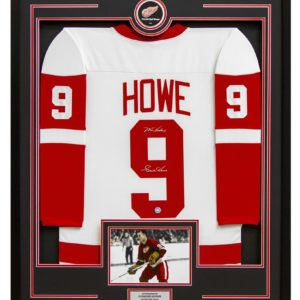 Signed Gordie Howe Jersey - Retro Style 35x43 Framed