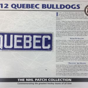 1912 QUEBEC BULLDOGS Patch NHL Hockey Willabee & Ward Official Jersey Patch