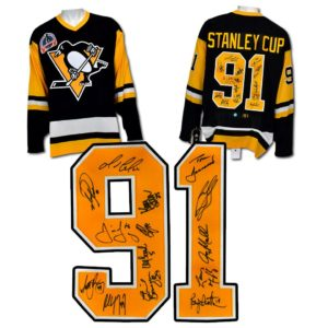1991 Pittsburgh Penguins 14 Player Team Signed Stanley Cup Hockey Jersey #/91