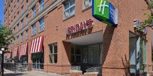 Photograph of the Holiday Inn Express Downtown Buffalo NY; adjacent to TGI Friday's Restaurant.