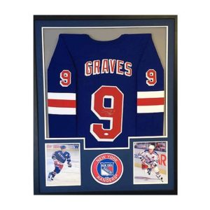 Adam Graves Signed Jersey - Pro Style Blue Custom Matted Framed J