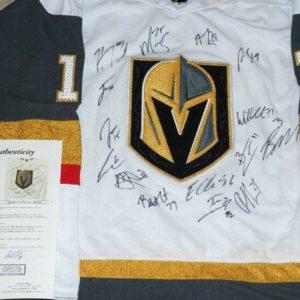 VEGAS KNIGHTS Team Multi Signed Hockey JERSEY + JSA COA (15 Autos) Fleury 2019